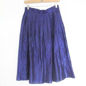 J. Crew Pleated Midi Skirt Metallic Voile Blue